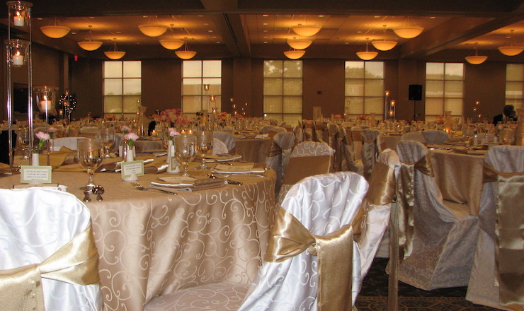 ballrom with white chairs