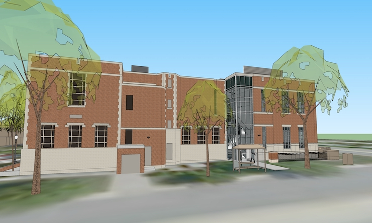 an up close view of a 3d rendering of the finished mcmullen hall remodel