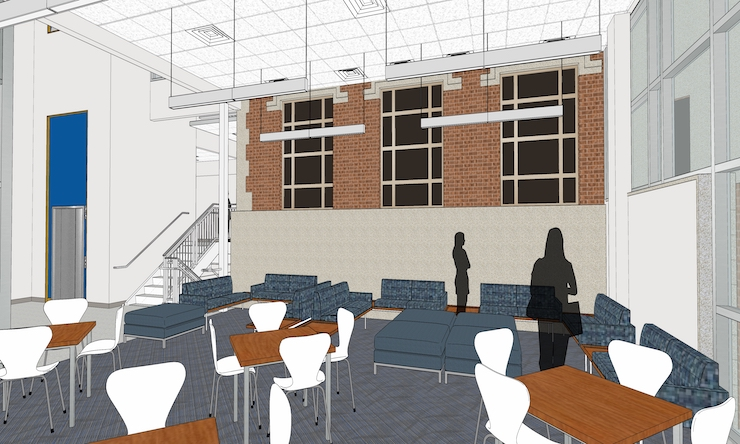 a 3d rendering of the student commons area inside mcmullen hall