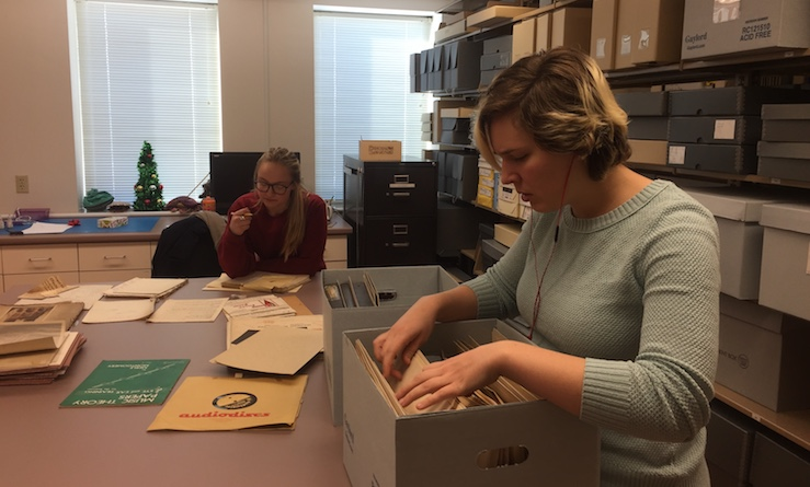 interns working in SAU Archives