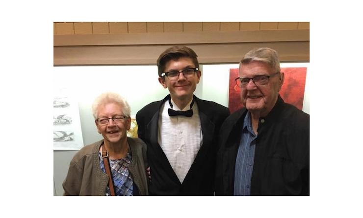 sam lange with grandparents