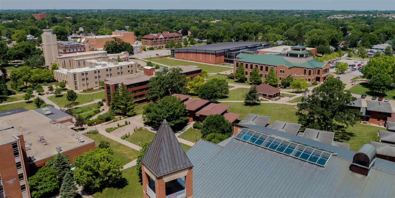 Overhead shot of campus